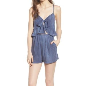 NORDSTROM Tie Front Cutout Shorts Romper Playsuit